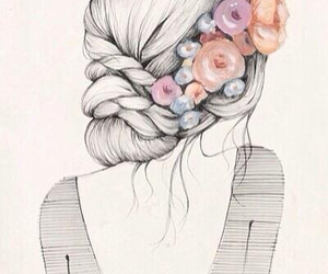 flowers, hair, and drawing image