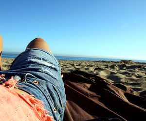 beach, jeans, and sand image