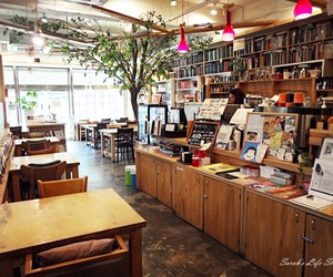 books, coffee, and coffee shop image