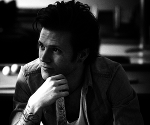 dougie poynter, McFly, and black and white image