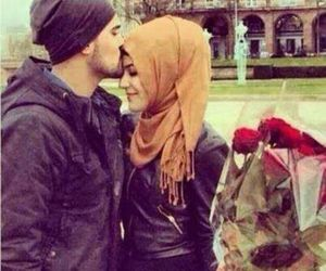 love, hijab, and flowers image