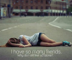 girl, alone, and friends image