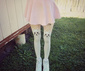 pink, cat, and skirt image