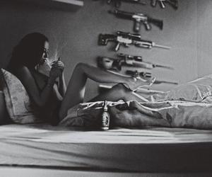 girl, gun, and smoke image