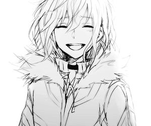 anime, monochrome, and smile image