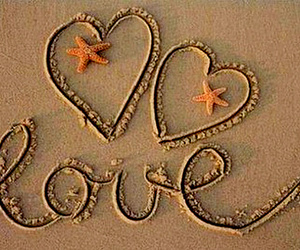 love, sand, and heart image
