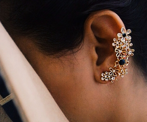 ear ring, fashion, and flowers image