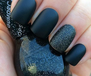 black, nail polish, and glitter image