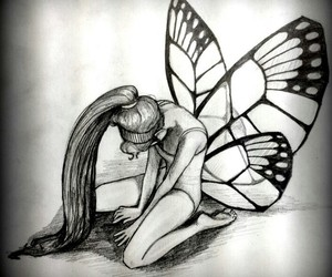 drawing, wings, and girl image
