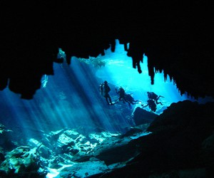 Bleu, cave, and under image