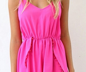 blonde hair and pink jumpsuit image