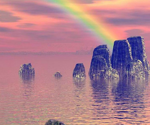 rainbow, sea, and water image