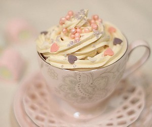 cup, pink, and food image