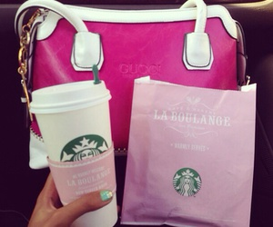 girly, purse, and starbucks image