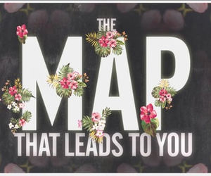 map, maroon 5, and flowers image