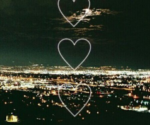 city, hearts, and lights image