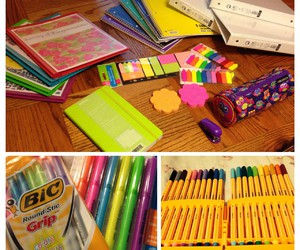color, motivation, and school supplies image