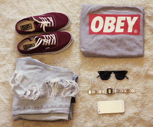 obey, vans, and jeans image