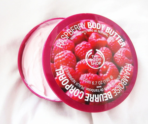 raspberry, body butter, and the body shop image