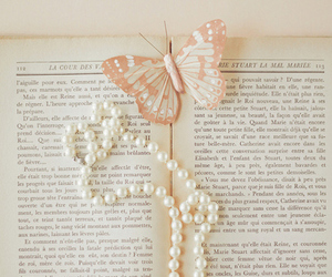 book, butterfly, and pearls image