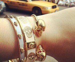 skull, bracelet, and gold image