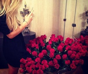 love, blonde, and flowers image