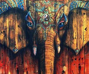 elephant, art, and wood image
