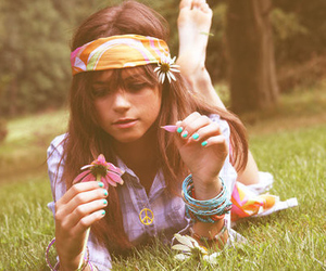 girl, flowers, and hippie image
