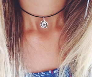 sun, necklace, and hair image