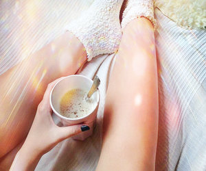 bed, chill, and coffee image
