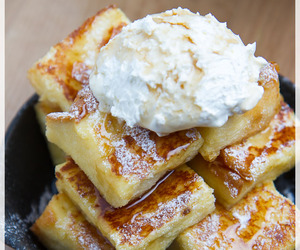 cream, french toast, and maple syrup image