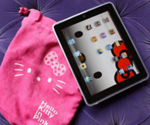 hello kitty, ipad, and pink image