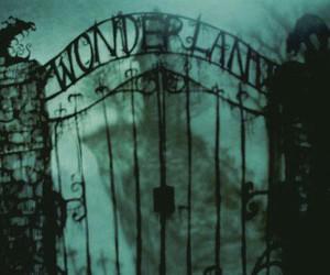wonderland, dark, and black and white image