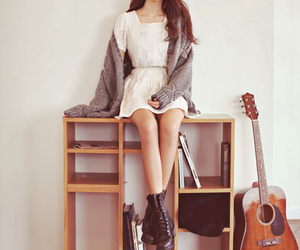 girl, guitar, and style image