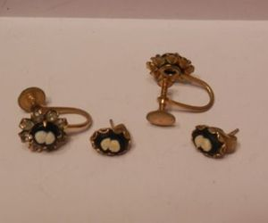 black, cameo, and earrings image