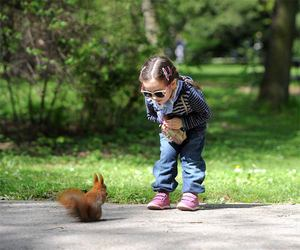 funny, girl, and squirrel image