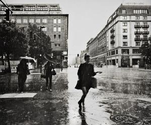 rain, city, and black and white image