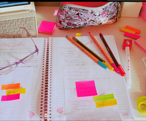 notebook, pink, and pens image
