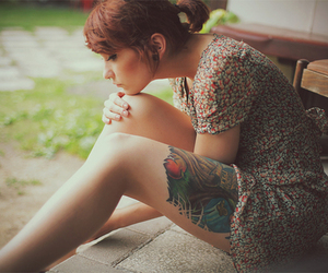 girl, tattoo, and dress image