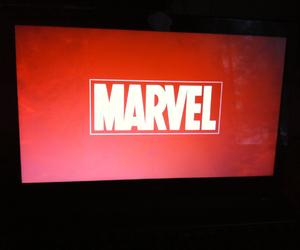laptop, Logo, and Marvel image