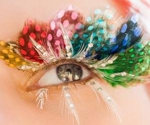 eyes, feather, and eyelashes image