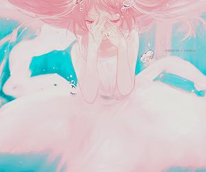 anime girl, blue eyes, and underwater image