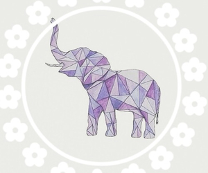 elephant, flower, and purple image