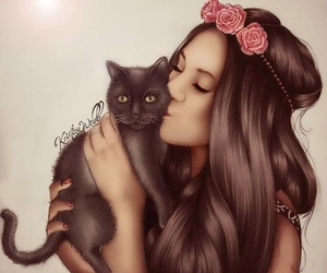 girl, cat, and drawing image