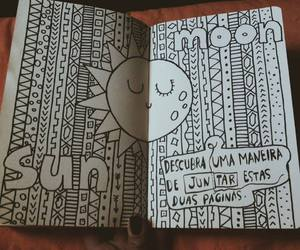 sun, drawing, and moon image