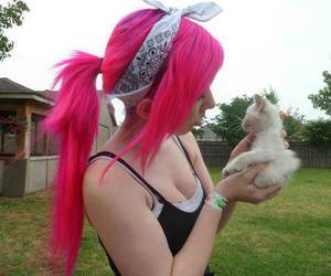 pink hair, cat, and emo image