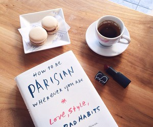 book, coffee, and parisian image