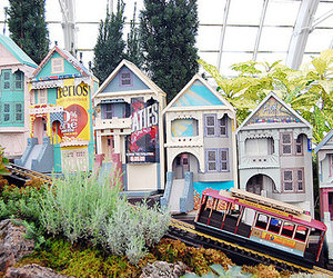 colorful, Houses, and train image