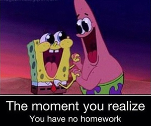 spongebob, funny, and homework image
