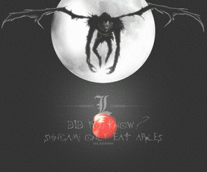death note, anime, and apple image